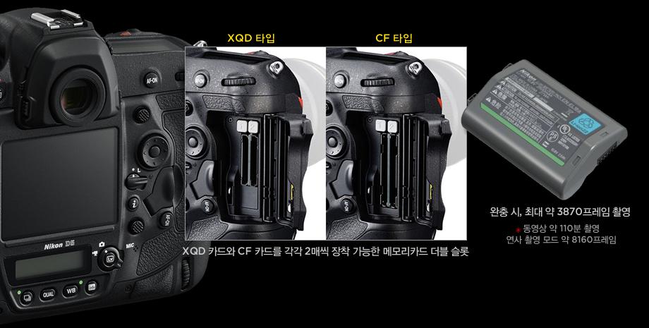 XQD 카드와 CF 카드를 각각 2매씩 장착 가능한 메모리카드 더블 슬롯, 완충 시, 최대 약 3870프레임 촬영(동영상 약 110분 촬영, 연사 촬영 모드 약 8160프레임)