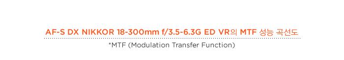 AF-S DX NIKKOR 18-300mm f/3.5-6.3G ED VR의 MTF 성능 곡선도, *MTF (Modulation Transfer Function)