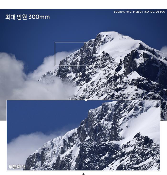 최대 망원 300mm, 뛰어난 콘트라스트와 선명함을 유지하는 샘플 사진, 부분 확대